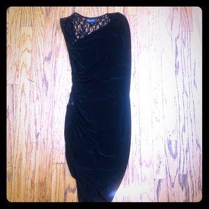 Allen Schwartz Privé Ruched Lace Black Midi Dress